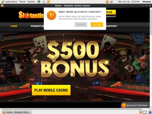 Slotastic! Register Bonus