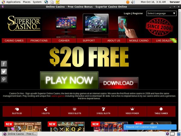 Welcome Offer Superior Casino