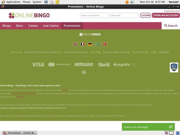 Online Bingo Betting Slip