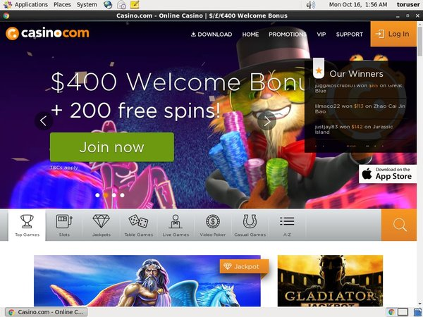 Casino.com Desktop Site Login